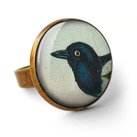 Magpie,Ring,(TB08),jewellery, jewelry, handmade, brass, ring, vintage, glass, cabochon, steampunk, victorian, bird, magpie