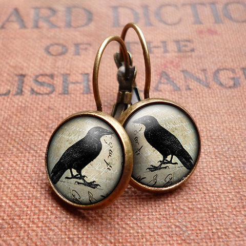 Raven,No.1,Leverback,Earrings,(RR01),jewellery, jewelry, handmade, brass, earrings, leverback, vintage, glass, cabochon, steampunk, victorian, black, raven, bird