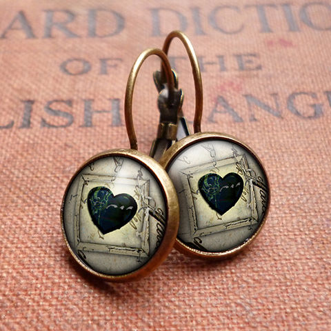 Black,Heart,No.1,Leverback,Earrings,(RR04),jewellery, jewelry, handmade, brass, earrings, leverback, vintage, glass, cabochon, steampunk, victorian, black, heart, gothic