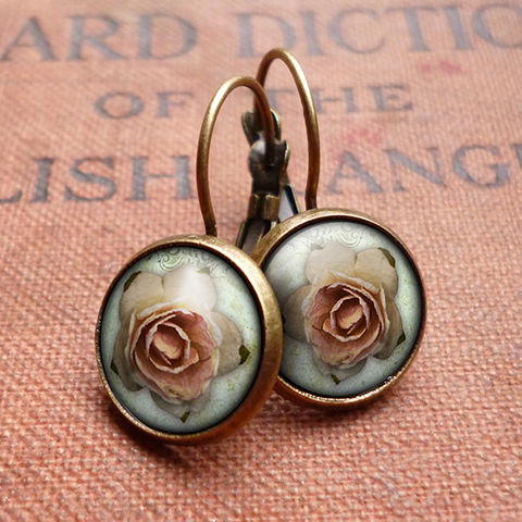 Pink,Rose,Leverback,Earrings,(RR08),jewellery, jewelry, handmade, brass, earrings, leverback, vintage, glass, cabochon, steampunk, victorian, pink, rose, gothic
