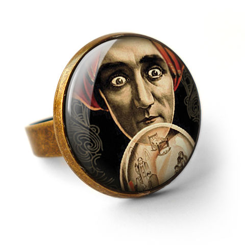 Fortune,Teller,Ring,(DJ04),jewellery, jewelry, handmade, brass, ring, vintage, glass, cabochon, steampunk, victorian, fortune, teller, crystal, ball