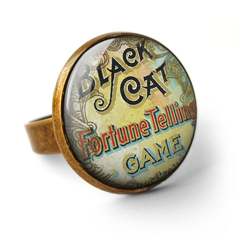Black,Cat,Ring,(DJ05),jewellery, jewelry, handmade, brass, ring, vintage, glass, cabochon, steampunk, victorian, fortune, black, cat, game