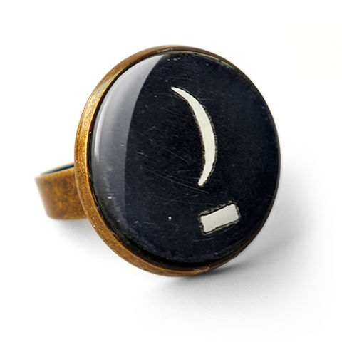 Crescent,Moon,Typewriter,Key,Ring,(DJ10),jewellery, jewelry, handmade, brass, ring, vintage, glass, cabochon, steampunk, victorian, typewriter, key, black, moon