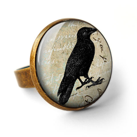 Raven,No.1,Ring,(RR01),jewellery, jewelry, handmade, brass, ring, vintage, glass, cabochon, steampunk, victorian, bird, black, raven