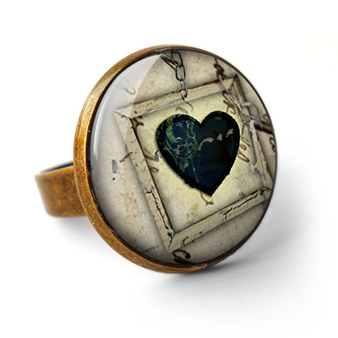 Black,Heart,No.1,Ring,(RR04),jewellery, jewelry, handmade, brass, ring, vintage, glass, cabochon, steampunk, victorian, black, heart, gothic