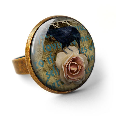 Raven,and,Pink,Rose,Ring,(RR05),jewellery, jewelry, handmade, brass, ring, vintage, glass, cabochon, steampunk, victorian, black, raven, bird, pink, rose