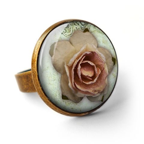 Pink,Rose,Ring,(RR08),jewellery, jewelry, handmade, brass, ring, vintage, glass, cabochon, steampunk, victorian, pink, rose