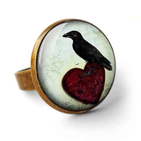 Raven,and,Red,Heart,No.2,Ring,(RR09),jewellery, jewelry, handmade, brass, ring, vintage, glass, cabochon, steampunk, victorian, black, raven, bird, red, heart