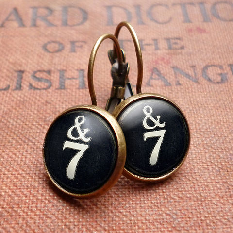 &7,Typewriter,Key,Leverback,Earrings,(DJ01),jewellery, jewelry, handmade, brass, earrings, leverback, vintage, glass, cabochon, steampunk, victorian, typewriter, key, black