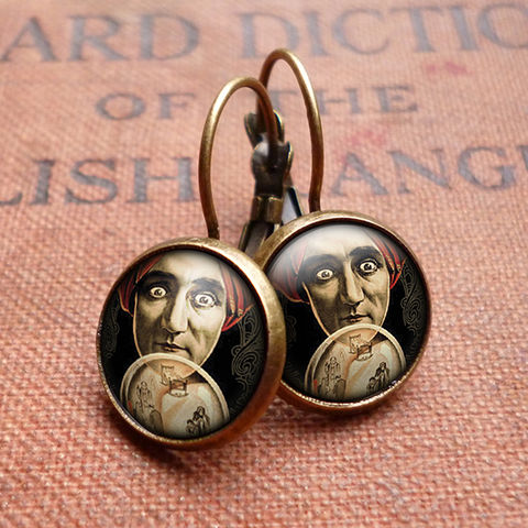 Fortune,Teller,Leverback,Earrings,(DJ04),jewellery, jewelry, handmade, brass, earrings, leverback, vintage, glass, cabochon, steampunk, victorian, fortune, teller, crystal, ball
