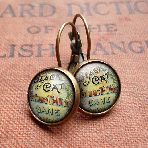 Black,Cat,Leverback,Earrings,(DJ05),jewellery, jewelry, handmade, brass, earrings, leverback, vintage, glass, cabochon, steampunk, victorian, fortune, black, cat, game