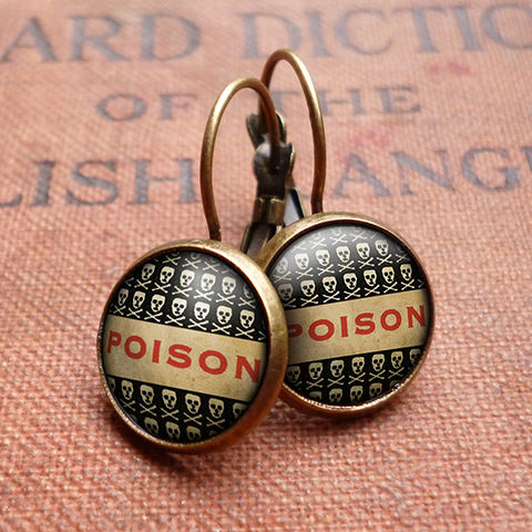 Poison,No.1,Leverback,Earrings,(DJ06),jewellery, jewelry, handmade, brass, earrings, leverback, vintage, glass, cabochon, steampunk, victorian, poison, skull, toxic