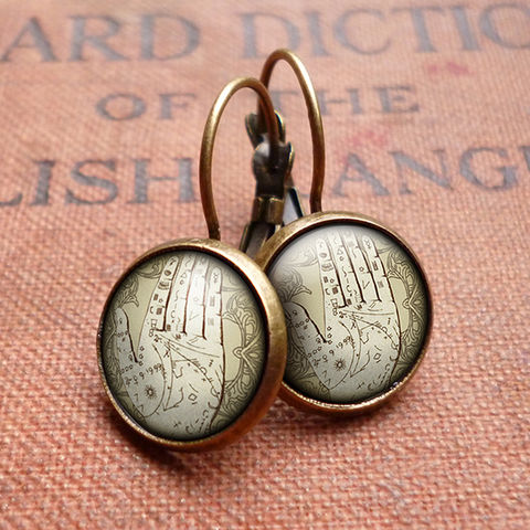 Palmistry,Leverback,Earrings,(DJ08),jewellery, jewelry, handmade, brass, earrings, leverback, vintage, glass, cabochon, steampunk, victorian, palm, hand, palmistry, fortune