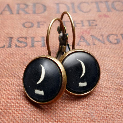 Crescent,Moon,Typewriter,Key,Leverback,Earrings,(DJ10),jewellery, jewelry, handmade, brass, earrings, leverback, vintage, glass, cabochon, steampunk, victorian, typewriter, key, black, moon