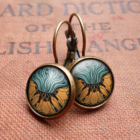 Fritillaria,Leverback,Earrings,(AN02),jewellery, jewelry, handmade, brass, earrings, leverback, vintage, glass, cabochon, art nouveau, flower, crown, imperial, fritillaria, orange, aqua