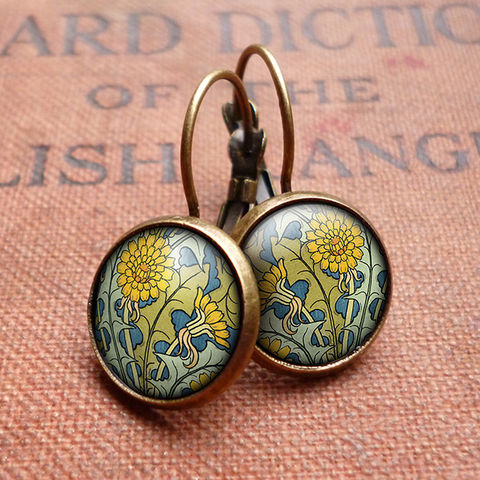 Dandelion,Leverback,Earrings,(AN04),jewellery, jewelry, handmade, brass, earrings, leverback, vintage, glass, cabochon, art nouveau, flower, dandelion, yellow, blue