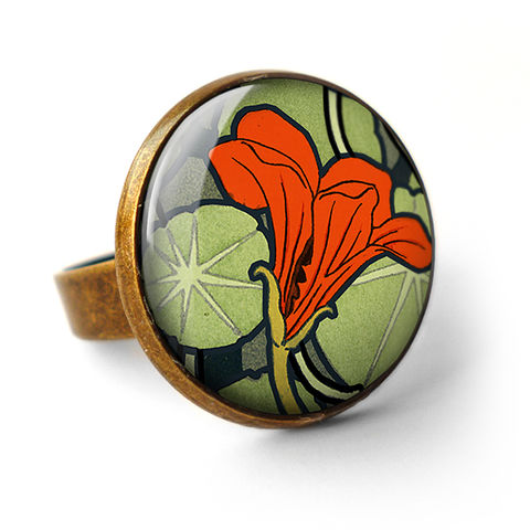Nasturtium,Ring,(AN01),jewellery, jewelry, handmade, brass, ring, vintage, glass, cabochon, art nouveau, flower, nasturtium, red, orange