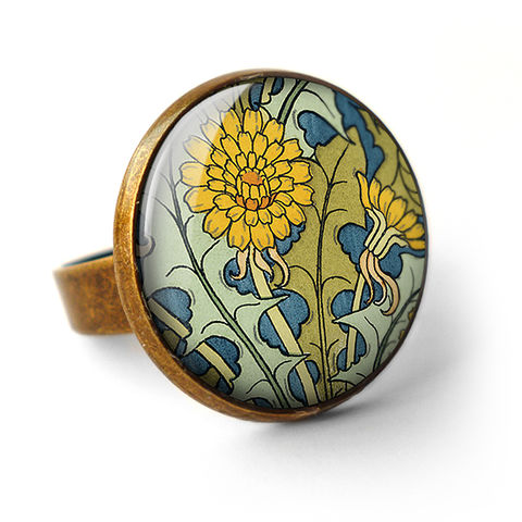 Dandelion,Ring,(AN04),jewellery, jewelry, handmade, brass, ring, vintage, glass, cabochon, art nouveau, flower, dandelion, yellow, blue