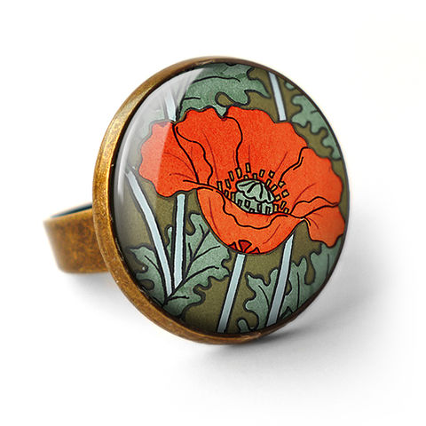 Poppy,Ring,(AN07),jewellery, jewelry, handmade, brass, ring, vintage, glass, cabochon, art nouveau, flower, poppy, red