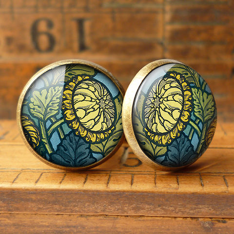 Chrysanthemum,Cufflinks,(AN06),jewellery, jewelry, handmade, brass, cufflinks, vintage, glass, cabochon, art nouveau, flower, chrysanthemum, yellow, blue, green