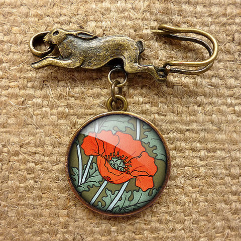 Poppy,Hare,Pin,Brooch,(AN07),jewellery, jewelry, handmade, brass, brooch, pin, rabbit, hare, vintage, glass, cabochon, art nouveau, flower, poppy, red