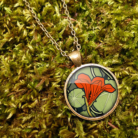 Nasturtium,Large,Necklace,(AN01),jewellery, jewelry, handmade, brass, necklace, vintage, glass, cabochon, art nouveau, flower, nasturtium, red, orange