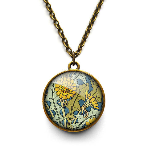 Dandelion,Necklace,(AN04),jewellery, jewelry, handmade, brass, necklace, vintage, glass, cabochon, art nouveau, flower, dandelion, yellow, blue