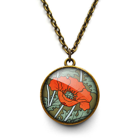 Poppy,Necklace,(AN07),jewellery, jewelry, handmade, brass, necklace, vintage, glass, cabochon, art nouveau, flower, poppy, red