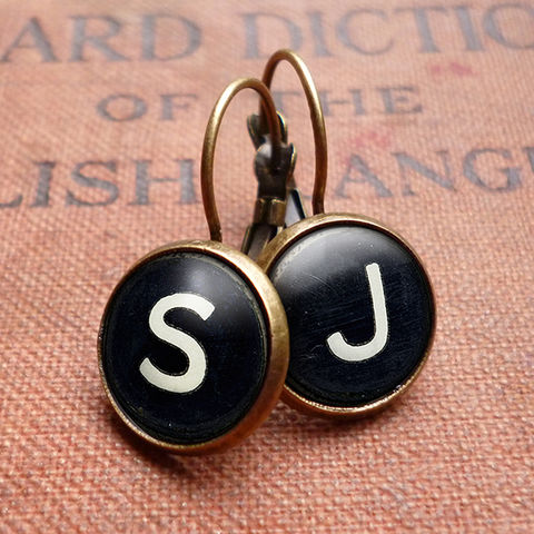 Personalised,Initials,Alphabet,Typewriter,Key,Leverback,Earrings,(AL01),jewellery, jewelry, handmade, brass, earrings, leverback, vintage, glass, cabochon, steampunk, victorian, typewriter, key, black, personalised, alphabet