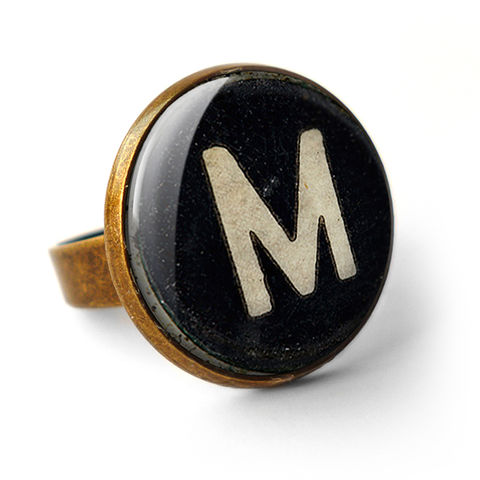 Personalised,Initial,Alphabet,Typewriter,Key,Ring,(AL01),jewellery, jewelry, handmade, brass, ring, vintage, glass, cabochon, steampunk, victorian, typewriter, key, black, personalised, alphabet