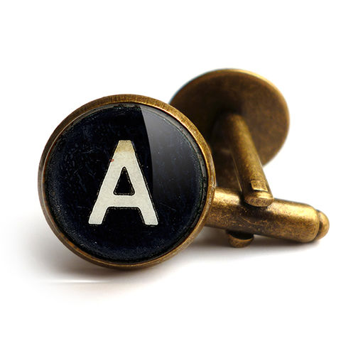 Personalised,Initials,Alphabet,Typewriter,Key,Cufflinks,(AL01),jewellery, jewelry, handmade, brass, cufflinks, vintage, glass, cabochon, steampunk, typewriter, key, black, personalised, alphabet