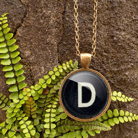 Personalised,Initial,Alphabet,Typewriter,Key,Large,Necklace,(AL01),jewellery, jewelry, handmade, brass, necklace, vintage, glass, cabochon, steampunk, victorian, typewriter, key, black, personalised, alphabet