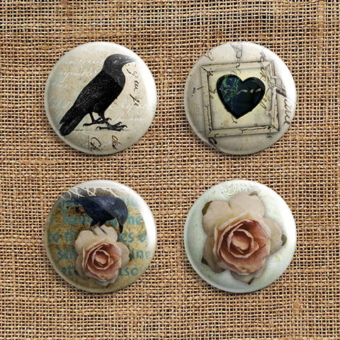 Set,Of,4,Roses,and,Ravens,Button,Badges,(RR),jewellery, jewelry, badge, button, pin, steampunk, victorian, black, raven, bird, heart, rose, stocking filler