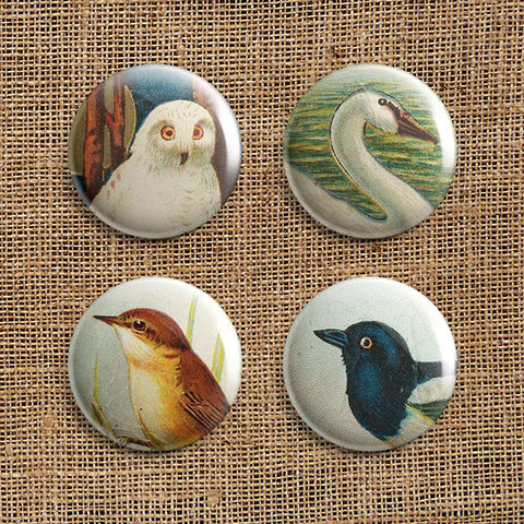 Set,Of,4,Bird,Button,Badges,(TB),jewellery, jewelry, badge, button, pin, steampunk, victorian, bird, reed warbler, swan, snowy owl, magpie, stocking filler