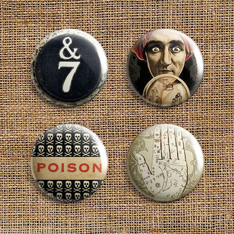 Set,Of,4,Dark,Journey,Button,Badges,(DJ),jewellery, jewelry, badge, button, pin, steampunk, victorian, typewriter, key, fortune, teller, palm, hand, palmistry, poison, skull, toxic, stocking filler