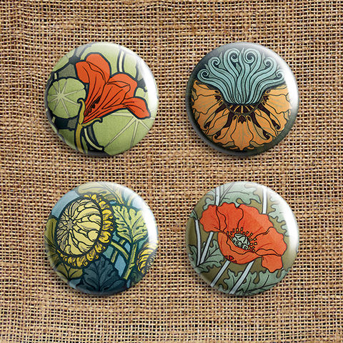 Set,Of,4,Art,Nouveau,Button,Badges,(AN),jewellery, jewelry, badge, button, pin, art nouveau, flower, floral, nasturtium, fritillaria, fritillary, chrysanthemum, poppy, stocking filler