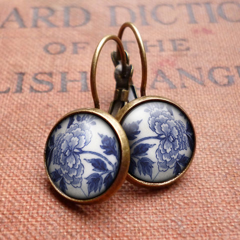 Peony,Leverback,Earrings,(BP02),jewellery, jewelry, handmade, brass, earrings, leverback, vintage, glass, cabochon, broken pottery, peony, flower