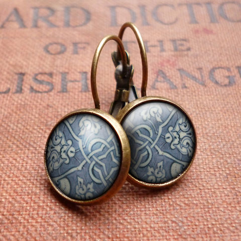 Heraldic,Leverback,Earrings,(BP03),jewellery, jewelry, handmade, brass, earrings, leverback, vintage, glass, cabochon, broken pottery, heraldic