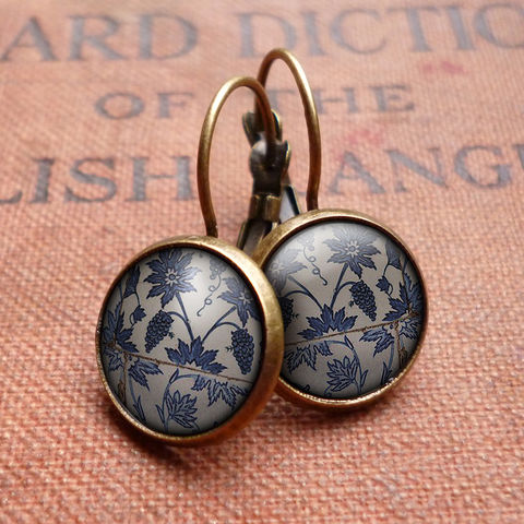 Tiles,Leverback,Earrings,(BP06),jewellery, jewelry, handmade, brass, earrings, leverback, vintage, glass, cabochon, broken pottery, tiles