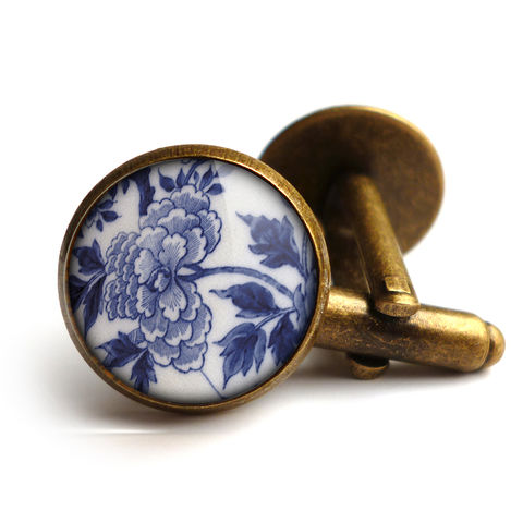 Peony,Cufflinks,(BP02),jewellery, jewelry, handmade, brass, cufflinks, vintage, glass, cabochon, broken pottery, peony, flower
