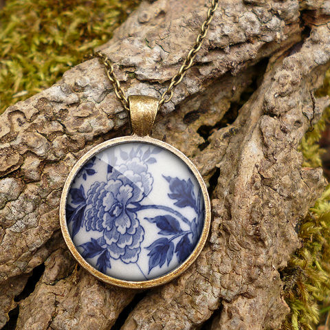 Peony,Large,Necklace,(BP02),jewellery, jewelry, handmade, brass, necklace, vintage, glass, cabochon, broken pottery, peony, floral, flower