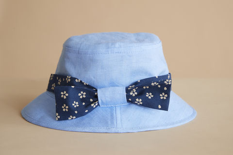 Kids,Skyblue,daisy,bow,bucket,kids hat, childrens hat, kids sun hat, childrens sun hat