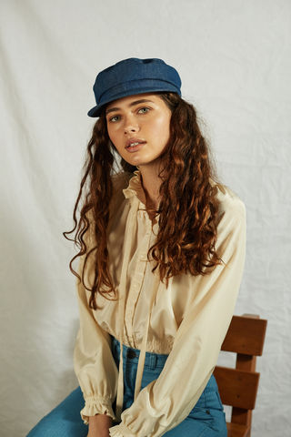 CECILE,:,Denim,hat, cap, denim cap, denim hat, fisherman cap