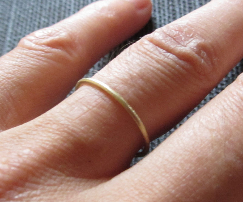 Mini dainty skinny 18K rose gold stacking ring 1mm  - product images  of