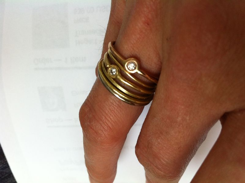 Thin 18K rose gold stacking ring - product images  of