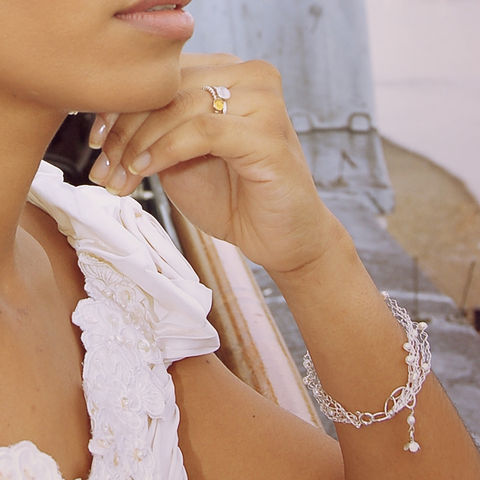 Crocheted,bracelet,5,rows,in,silver,with,white,pearls,charm bracelet, silver chain, white pearls, weddings, bridal jewellery,dainty jewellery,catherine marche