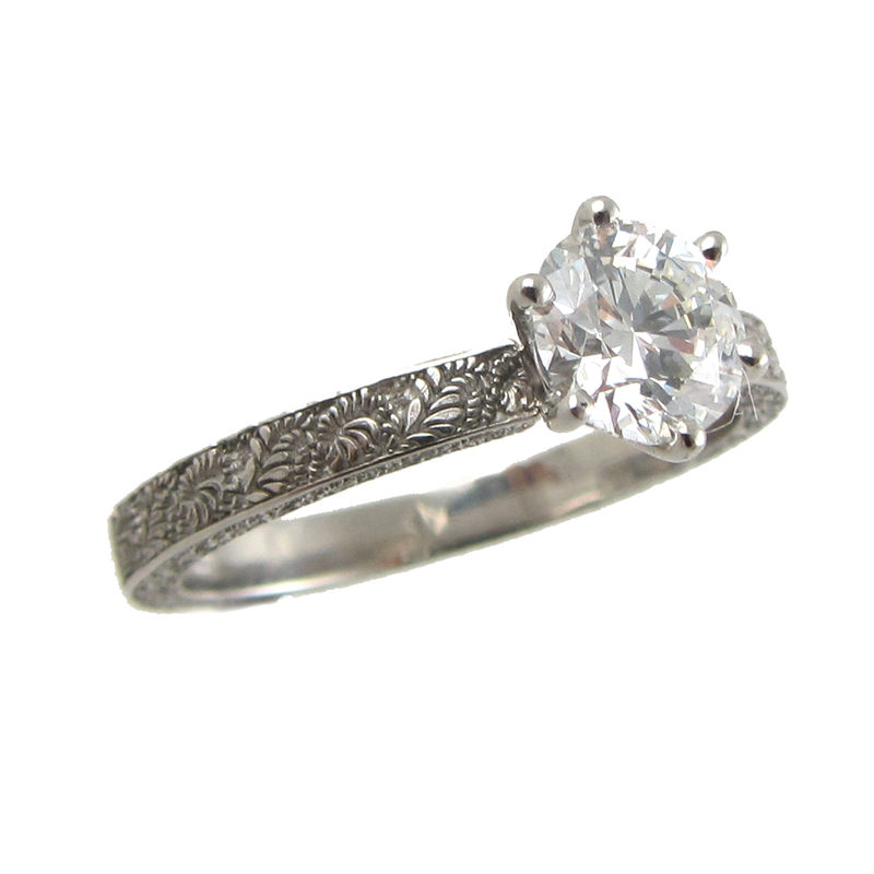 Platinum and Diamond engraved engagement ring - product images  of