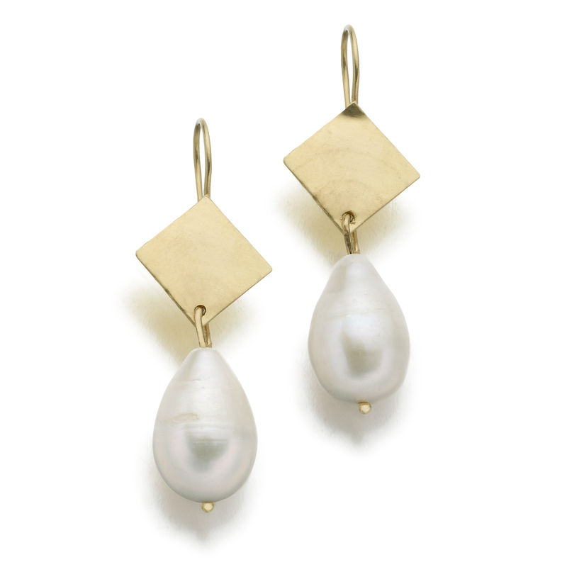 Big Baroque Pearls and 18ct Solid Yellow Gold Earrings - product images  of