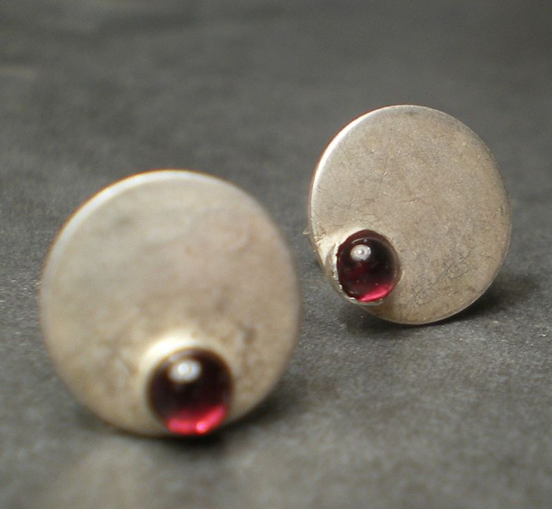 Dotty Spot Ear Studs sterling silver and pink tourmaline cabochons - product images  of
