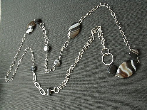Sterling Silver Black Botswana Agate long Sterling Silver - product images  of